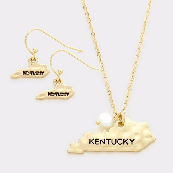 Kentucky State Map Pendant Necklace + Earring Set on kentucky state badge, kentucky state hat, kentucky state beads, kentucky state book, kentucky state shield, kentucky state tie, kentucky state cap, kentucky state scarf, kentucky big top, kentucky state black, kentucky state cut out, kentucky state art, kentucky state gold, kentucky state door hanger, kentucky state metal, kentucky state home, kentucky state bracelet bangle, kentucky state charm, kentucky state shirt, kentucky state silhouette,